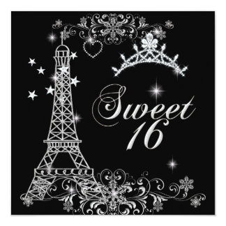 Sweet Sixteen 16 Black Silver Glitter Eiffel Tower 5.25x5.25 Square Paper Invitation Card