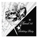 Sweet Sixteen 16 Black White Silver Mask Invitation