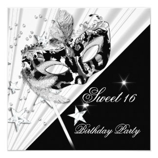 Sweet Sixteen 16 Black White Silver Mask 5.25x5.25 Square Paper Invitation Card