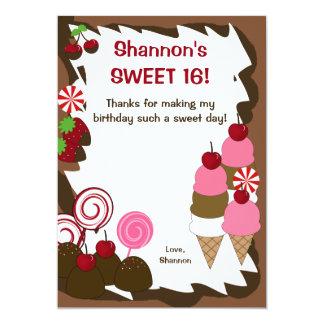 SWEET SIXTEEN 16 Candy Birthday FLAT THANK YOU Card