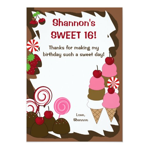 SWEET SIXTEEN 16 Candy Birthday FLAT THANK YOU Card