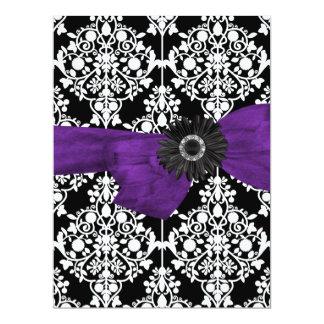 Sweet Sixteen 16 Damask Black White Purple Flower Custom Invites