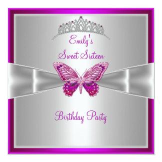 Sweet Sixteen 16 Fuchsia Pink Silver Tiara 3 Card