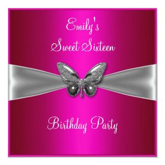 Sweet Sixteen 16 Fuschia Silver Butterfly Jewel Custom Announcement