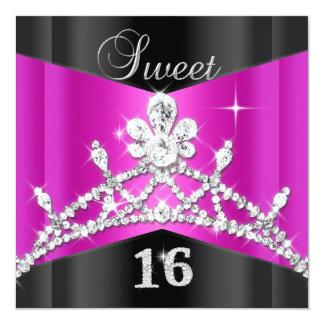 Sweet Sixteen 16 Hot Pink Black Silver Tiara Invites