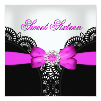 Sweet Sixteen 16 Hot Pink Black White Lace 5.25x5.25 Square Paper Invitation Card