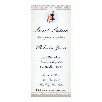 "Sweet sixteen 16  Invitation 4"" X 9.25"" Invitation Card"