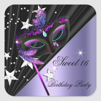 Sweet Sixteen 16 Lilac Black Silver Mask Square Sticker