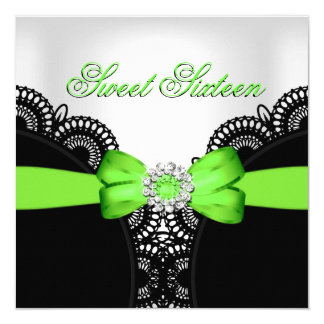 Sweet Sixteen 16 Lime Black White Lace 5.25x5.25 Square Paper Invitation Card