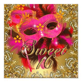 Sweet Sixteen 16 Masquerade Coral Pink Gold Card