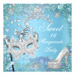 Sweet  Sixteen 16 Masquerade Party Blue Tiara Shoe Personalized Announcement