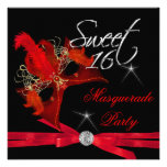 Sweet Sixteen 16 Masquerade Red Black Announcements