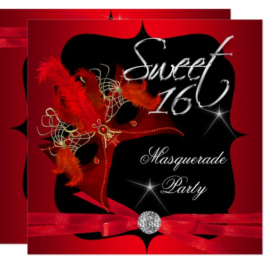 Red and Black Masquerade Sweet 16 In