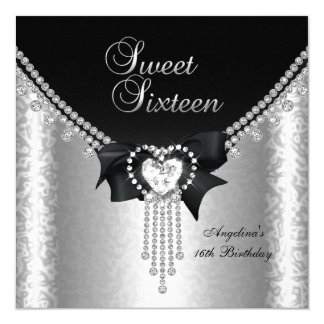 "Sweet Sixteen 16 Party Black Silver Diamond 2 5.25"" Square Invitation Card"