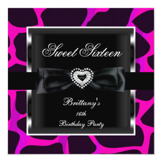 Sweet Sixteen 16 Party Hot Pink Animal Print Black Card