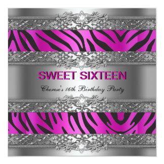 Sweet Sixteen 16 Party Hot Pink Silver Zebra Black Card