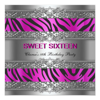 Sweet Sixteen 16 Party Hot Pink Silver Zebra Black Custom Announcements