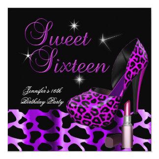 Sweet Sixteen 16 Party Leopard Shoe Lipstick Announcements