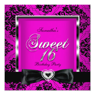 Sweet Sixteen 16 Party Pink Black Damask Silver Card