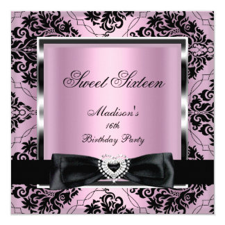 Sweet Sixteen 16 Party Pink Damask Silver Black Card