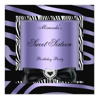 Sweet Sixteen 16 Party Purple White Zebra Black Card