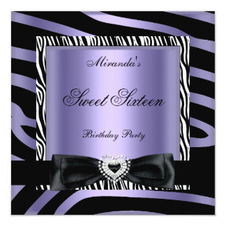 Sweet Sixteen 16 Party Purple White Zebra Black 5.25x5.25 Square Paper Invitation Card