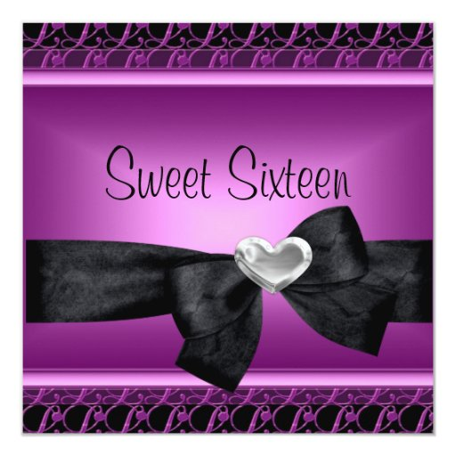 """Sweet Sixteen 16 Party Silver Heart Purple Black 5.25"""" Square Invitation Card"""