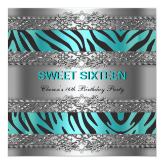 Sweet Sixteen 16 Party Teal Blue Silver Zebra Card
