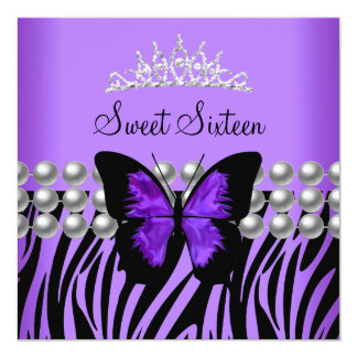 Sweet Sixteen 16 Party Zebra Pearl Butterfly 5.25x5.25 Square Paper Invitation Card