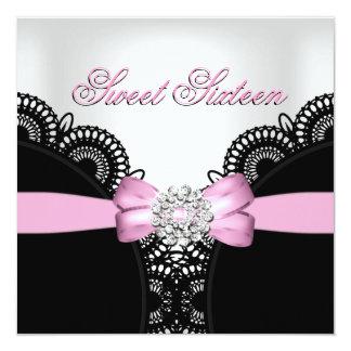 Sweet Sixteen 16 Pink Black White Lace Diamond Top Card