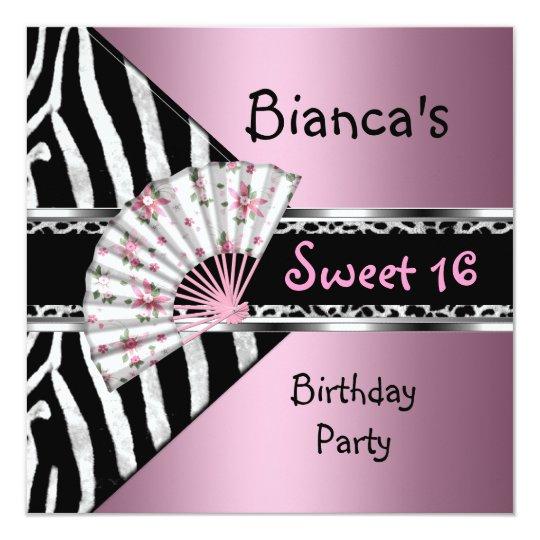 Sweet Sixteen 16 Pink Fan Black Zebra Leopard Card
