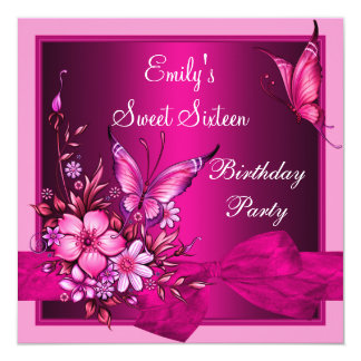 Sweet Sixteen 16 Pink Flowers Butterfly Birthday Invites