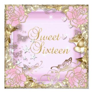 Sweet Sixteen 16 Pink Gold Floral Card