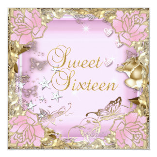 "Sweet Sixteen 16 Pink Gold Floral 5.25"" Square Invitation Card"
