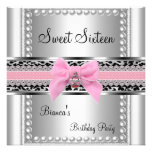 Sweet Sixteen 16 Pink Lace Silver Pearl Leopard Personalized Invitations