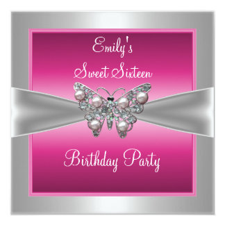 Sweet Sixteen 16 Pink Silver Butterfly Birthday 4 Personalized Invites