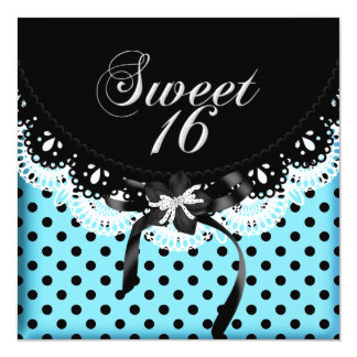 Sweet Sixteen 16 Polka Dot Black & White Blue 5.25x5.25 Square Paper Invitation Card