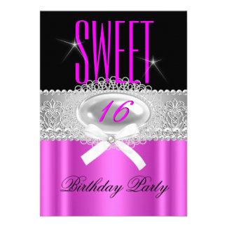 Sweet Sixteen 16 Pretty Hot Pink Black Silver Custom Invitation