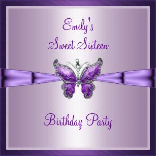 Sweet Sixteen 16 Purple Butterfly Birthday 3 Invitation