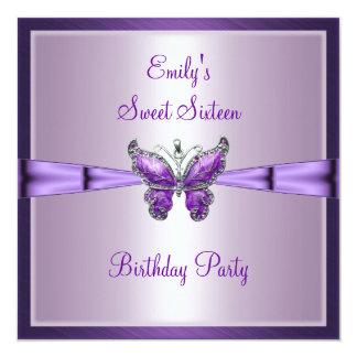 Sweet Sixteen 16 Purple Butterfly Birthday 3 Custom Invitations