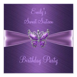 Sweet Sixteen 16 Purple Butterfly Birthday Custom Announcement