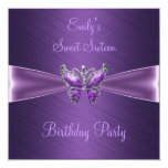 "Sweet Sixteen 16 Purple Butterfly Birthday 5.25"" Square Invitation Card"