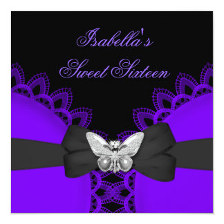 Sweet Sixteen 16 Purple Butterfly White Lace Card