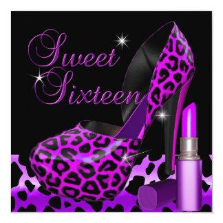 Sweet Sixteen 16 Purple Leopard Shoe Lipstick Custom Announcement