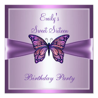 Sweet Sixteen 16 Purple Mauve Butterfly Birthday 2 Personalized Announcements