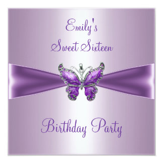 Sweet Sixteen 16 Purple Mauve Butterfly Birthday Card