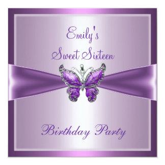 Sweet Sixteen 16 Purple Mauve Butterfly Birthday Invitations
