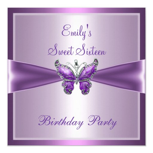 Sweet Sixteen 16 Purple Mauve Butterfly Birthday 5.25x5.25 Square Paper Invitation Card