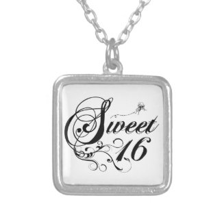 Sweet Sixteen (16) Quotes Square Pendant Necklace