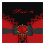 Sweet Sixteen 16 Red Black Lace Heart Gothic Invites